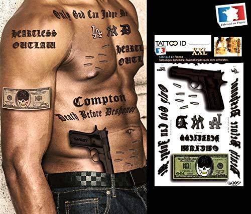 Gangstar Tattoo, temporär, Herren/Herren, Rapper, HipHop, Gun Sätze, -