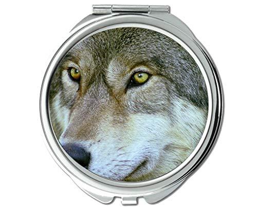 Yanteng Spiegel, Taschenspiegel, Animal Wolf Brillentaschenspiegel, 1 X 2X Vergrößerung