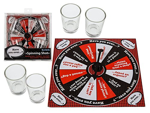 Juego de beber Spinning Shot - Party Night, con 4 vasos, 15,5 x 15,5 cm