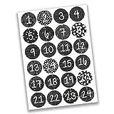 Papierdrachen 24 Adventskalender Zahlenaufkleber - schwarz weiß Nr 16 - Sticker 4 cm - zum Basteln und Dekorieren