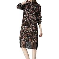 ALUK- La versión coreana de la primavera y el otoño vestido retro apacible floral falda de gasa floral mujeres ( Color : B , Tamaño : One Size )