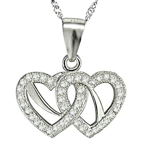 Gnzoe Schmuck Damen Halskette 925 Sterling Silber Doppel Offene Herz Form Anhänger Kette Damenkette Silber Größe 1.6x1.3 CM mit (Religiöse Hund Kostüme)