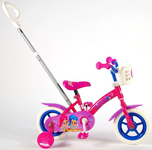 Shimmer & Shine Kinderfahrrad Mädchenfahrrad 10 Zoll Vorwärts und Rückwärts Fahren Schiebestange und Stützräder Rosa