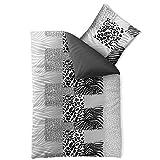 aqua-textil Bettwäsche 155x220 Baumwolle, Trend Bettbezug Leotine Leopard uni Streifen schwarz grau weiß Wendedesign 0011798