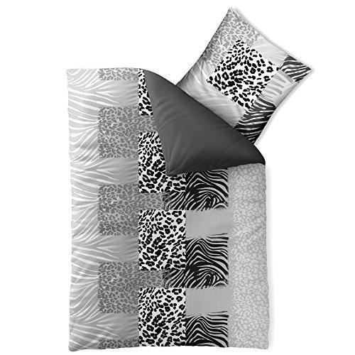 Bettwäsche 155x220 Baumwolle, Trend Bettbezug Leotine Leopard uni Streifen schwarz grau weiß Wendedesign aqua-textil 0011798 (100% Leopard Baumwolle)