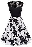 HOMEYEE Damen Elegant Spitze Rundhalsausschnitt Ärmel Mesh-A-Linie Kleid UKA008 (EU 40 (Herstellergroesse: L), Schwarz + Weiß)