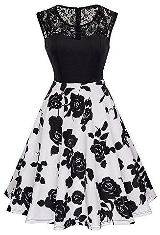 HOMEYEE Damen Elegant Spitze Rundhalsausschnitt Ärmel Mesh-A-Linie Kleid UKA008 (EU 40 (Herstellergroesse: L), Schwarz +