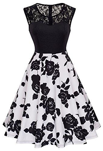 HOMEYEE Damen Elegant Spitze Rundhalsausschnitt Ärmel Mesh-A-Linie Kleid UKA008 (EU 36 (Herstellergroesse: S), Schwarz + Weiß) (Schwarz Mädchen Weiß-kleider Für Und)