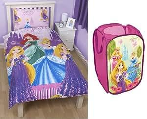 Parure housse de couette Princesse Disney + Coffre a jouet Enfant Fille