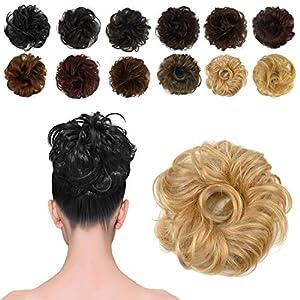 FESHFEN 100% Human Hair Scrunchies (Honey Blonde) Curly Messy Hair Bun Extensions Wedding Hair Pieces for Women Kids Hair Updo Donut Chignons