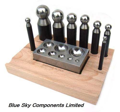 doming/Dapping Set 9Pezzi 8punzoni per & Dapping Blocco in acciaio temprato - Arco Di Blocco