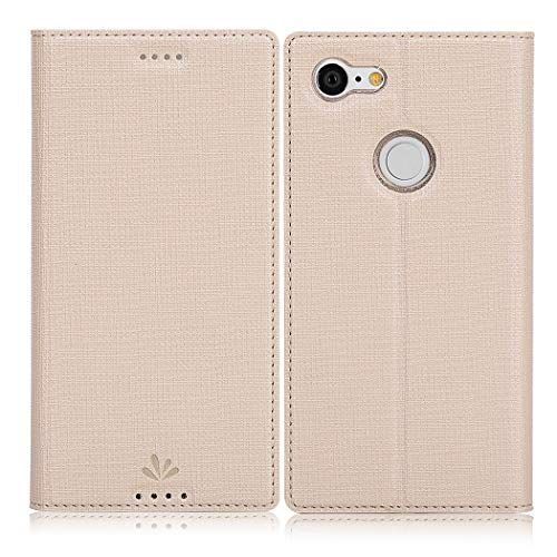 Eastcoo Google Pixel 3 Hülle, Flip Folio Wallet Leder Smart Case Tasche Schutzhülle Handyhülle mit [Kartenfach][Standfunktion][Magnetic Closure] für Google Pixel 3 Smartphone (Gold) Magnetic Wallet Case