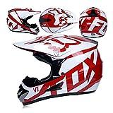 JL-Q Adulto Motocross Casco Occhiali Protettivo Maschera Guanti Fox Moto Racing Uomo E Donna Casco Integrale,C,L
