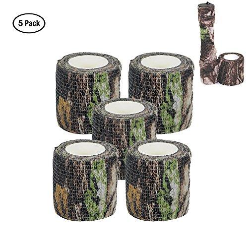 Tarnungs Band 5 CM x 4.5 M Taktisches Band Schutz Band Tarnungszubehör Dekor Vliesstoff Bandage für Jagd (5 Pack) (Forest Camo) -