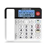 Älteres Telefon Leuchttastentelefon Anrufbeantworter Anrufer-ID Festnetz (Color : A)