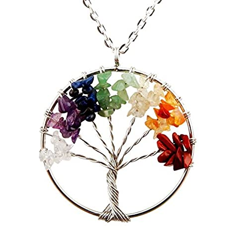 Cmidy Cmidy Tree of Life Pendant for Necklace Amulet Crystal Quartz DIY 7 Chakra Gemstone Charms for Family Best Friends