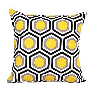 Rcool Kissenbezug mit geometrischen Formen, für Sofa & Bett, Kissenbezug, gelb, Size:45cm*45cm/18*18