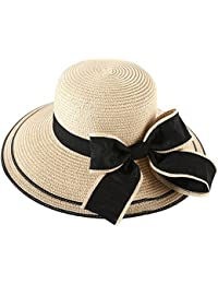TININNA Mujer Elegante Lazo Floppy Sombrero de Paja para el sol Gorra de  Playa de Verano Sun Visor gorro para Laides… f84ed21721f