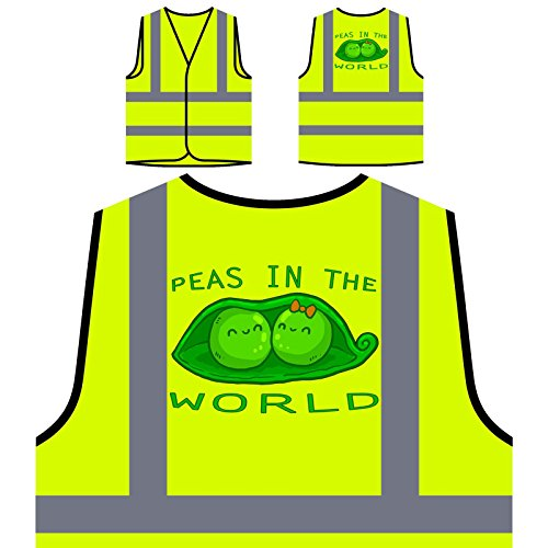 Erbsen in der Welt Personalisierte High Visibility Gelbe Sicherheitsjacke Weste u238v -
