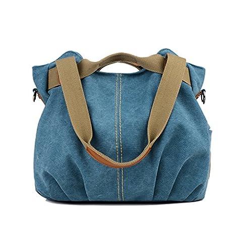 LOSMILE Damen- Leinwand Handtasche Schultertasche Leinentasche Umhängetasche Tragetasche Henkeltasche Hobo Tasche (Blau)