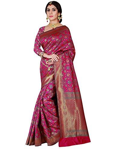 Viva N Diva Women's Patola Silk Dark Pink Saree