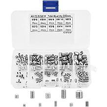 ASIV 200 Piezas Tornillos de Cabeza Hexagonal Acero Inoxidable Grub Tornillos M3 M4 M5 M6 M8 con Caja de Plástico