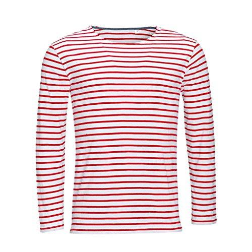 SOLS Herren Marine T-Shirt, gestreift, langärmlig (M) (Weiß/Rot) -