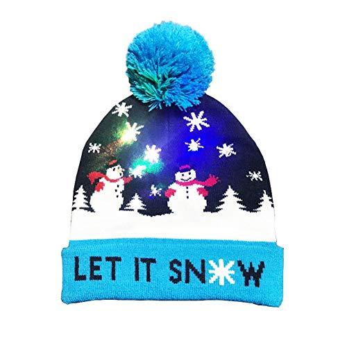 (EisEyen Winter Strickmütze Mütze mit LED Beleuchtung Weihnachtsmütze Unisex für Erwachsene und Kinder Xmas Christmas Beanie mit Fellbommel)