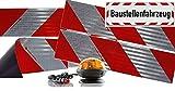 UvV Ulips-M24 Rundum Halogen Kennleuchte orange magnetisch + 4 x 3M-Folien magnetische Kfz-Warnmarkierung Typ 3410 + 45x15 cm Reflex Magnetschild -Baustellenfahrzeug-