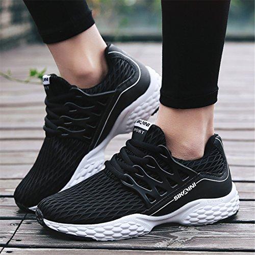 SIKAINI Unisex Laufschuhe Turnschuhe Lace-ups Sport Lässige Breathable Mesh Leichtgewicht Outdoor Athletic Footwear Schwarz