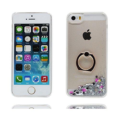 iPhone 5S Coque Case , Hard Protective Étui iPhone 5/SE/5C/5G Cover, Glitter Bling Sparkles Flowing Liquid Anti Scratch # 3