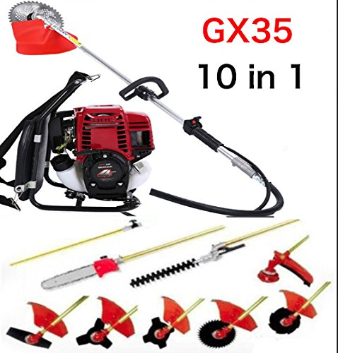 CHIKURA Multi Lawn mower Backpack GX35 Long Reach Pole Chainsaw Petrol Brush Cutter Pruner tree