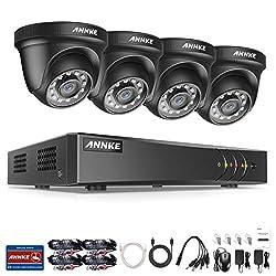 1080P Überwachungskamera System ANNKE 4CH 3MP TVI DVR ohne Festplatte und 4 Außen 1080P Dome Überwachungskamera Set für Innen und Außen Bewegungsmelder IR Nachtsicht