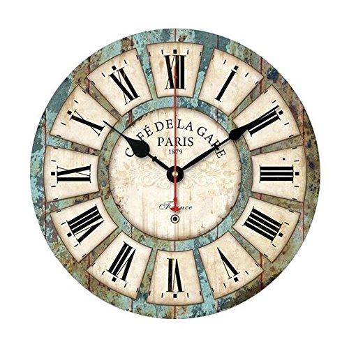 12 Zoll Vintage Wanduhr, Cuitan Retro Hölzerne Lautlos Uhr Quarzuhrwerk Rund Holzuhr mit Römische...