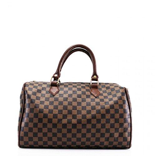LeahWard® Damenmode-Designer-Einkaufstasche Qualität Kunstleder Schultertaschen Handtaschen 41412 (Braun Prüfen H26cm x W36cm x D17cm)