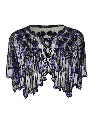 Grouptap 1920er Jahre Violett lila Gatsby Schal Bolero Pailletten Cape Achselzucken Wrap für Frauen Damen Flapper Art Deco Vintage Kleid Kostüm (Violett, Einheitsgröße) (Lila Flapper Kleid Kostüm)