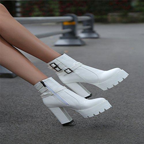 ZQ@QX Testa rotonda spessa con scarpe con i tacchi alti la moda della fibbia della cintura di sicurezza anteriore con cerniera laterale Stivali Stivali Donna stivali white