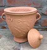 Terracotta Topf als Feuerschale, Feuertopf oder Blumentopf als Balkon und Gartendeko Palias XXL Gelkamin Maße: 27x22x28cm