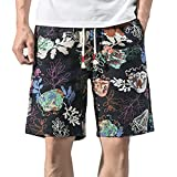 TEBAISE Herren Badeshorts mit Print Retroshorts Strandhosen Beachshorts Boardshorts Schwimmhose Bermudashorts Vert Shorts Kurz Leinenshorts(Marine,4XL)