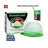 Grand bol coupe salade - Aide à couper rapidement légumes et fruits en toute sécurité - Permet de laver, couper et servir - Inclut un aiguiseur de couteaux et un livre de recettes