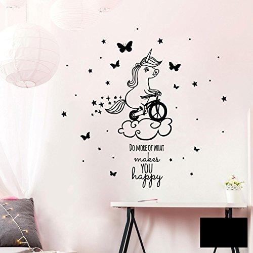 Ilka Parey Wandtattoo Welt Wandtattoo Einhorn Einhornwandtattoo Wandaufkleber Wandsticker Aufkleber Sticker Mit Fahrrad Und Spruch Do More Of What