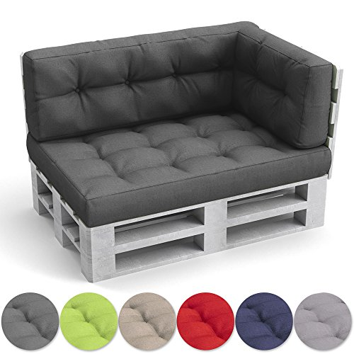 OSKAR Palettenkissen Palettensofa Palettenpolster Kissen Polster Lehne Set Sitz+Seiten+Rückenkissen (Anthrazit) (Outdoor-ess-set)