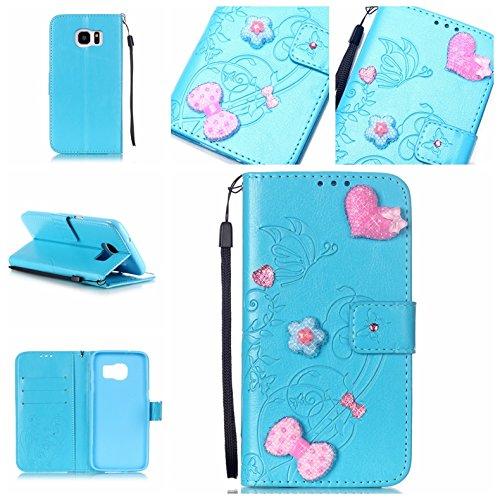 Handyhülle für Samsung Galaxy S7 Edge, BONROY® PU Leder Hülle Flip Case Booklet Geldbörse mit Standfunktion, Kartenfach & Weich TPU Innere - Pink Love Heart