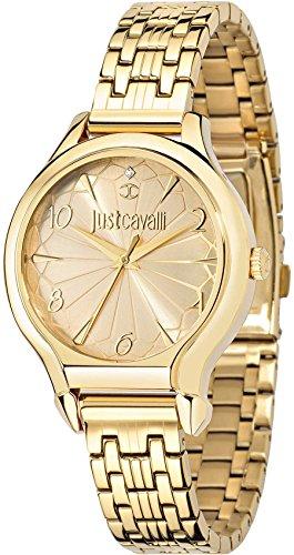 Just Cavalli Women's 46mm Gold Plated Bracelet Steel Case Quartz Gold-Tone Dial Analog Watch R7253533501