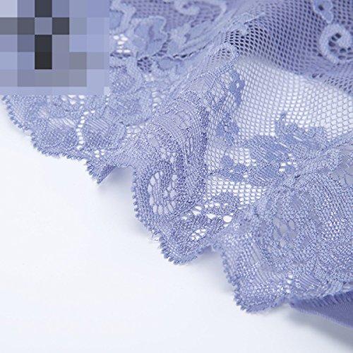 POKWAI 3 Pakete Frauen-Sommer-Spitze-reizvollen Transparente Und Komfortabel Ohne Trace Große Yards In Der Taille Dreieck Unterwäsche Baumwolle Schrittgurt A4