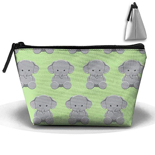 Trapezoidal Toiletry Pouch Makeup Travel Cosmetic Bag Cute Elephant Baby Portable Phone Coin Storage -