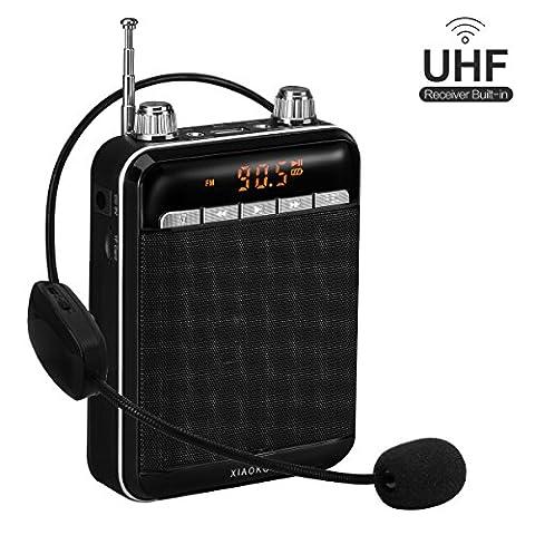 XIAOKOA Amplificateur vocal sans fil UHF, haut-parleur portable rechargeable de