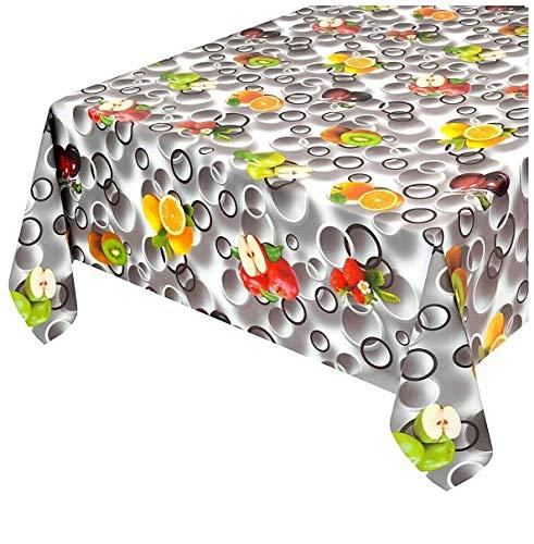 Emmevi tovaglia cucina antimacchia effetto tessuto cotone morbido plastificata ultra resistente su misura frutta pois grigia mod.touch 17 140x280