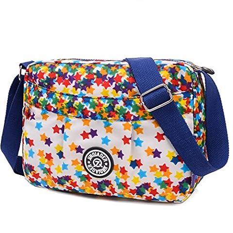 TianHengYi Small Water Resistant Women's Cross-body Shoulder Bag Lightweight Nylon Fabric Messenger Bag Stars