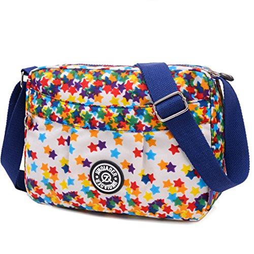 TianHengYi Small Water Resistant Womens Cross-body Shoulder Bag Lightweight Nylon Fabric Messenger Bag Stars